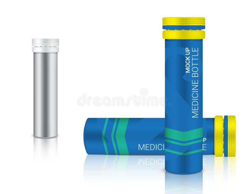 包装为在白色背景例证的钙和维生素药片的现实医学的瓶3D嘲笑 库存例证