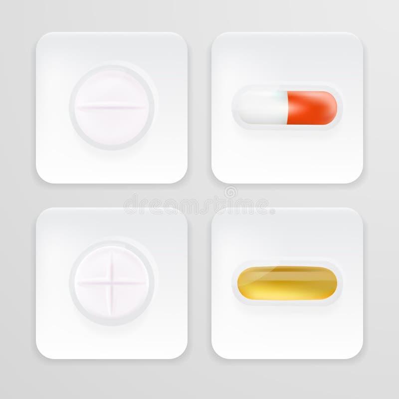 包装为药物止痛药、抗生素、维生素和阿斯匹灵片剂的3d 套白色起水泡与的药片的现实象 皇族释放例证