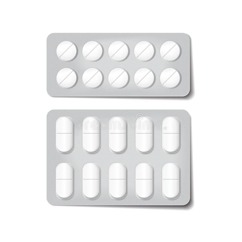 包装为药物的3d 止痛药、抗生素、维生素和阿斯匹灵片剂 传染媒介套天线罩包装,现实 向量例证