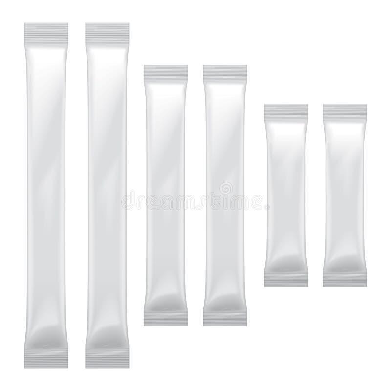 包装为食物,糖,盐,胡椒,调味料的套白色空白的箔袋子,导航塑料组装嘲笑  库存例证
