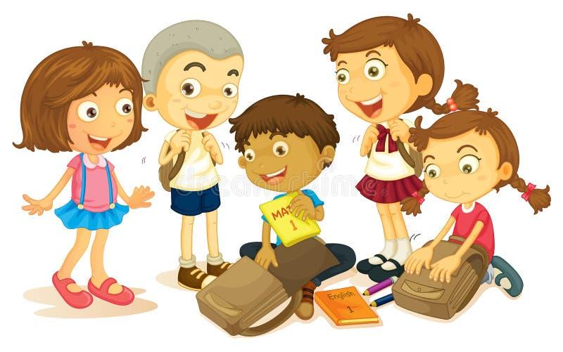 包装书包的男孩和女孩 库存例证