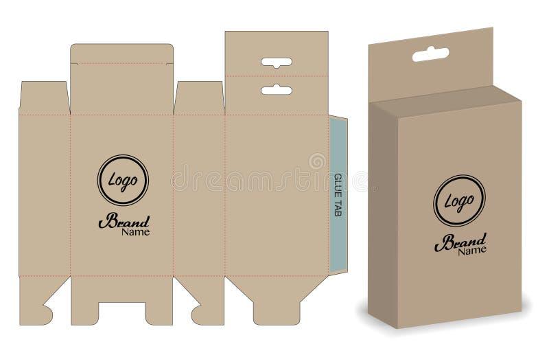 包装冲切的模板设计的箱子 3d大模型 库存例证