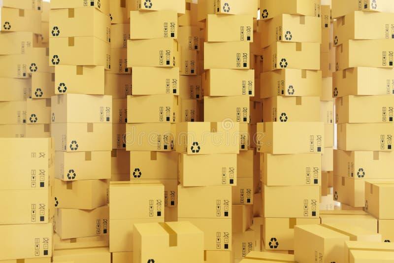 包装发货、货物运输和交付概念,纸板箱 3d翻译 库存图片