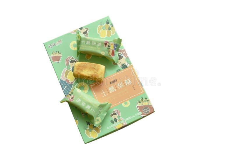 包装台湾的著名纪念品食物本地产的菠萝蛋糕 免版税库存图片