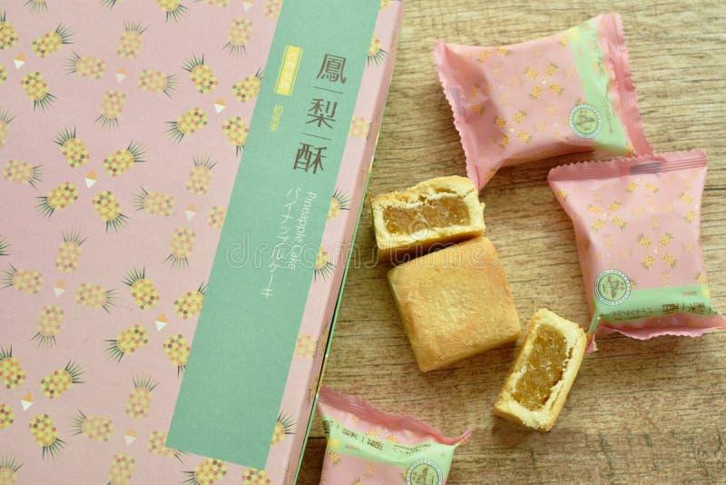 包装台湾的著名纪念品食物菠萝蛋糕 库存图片