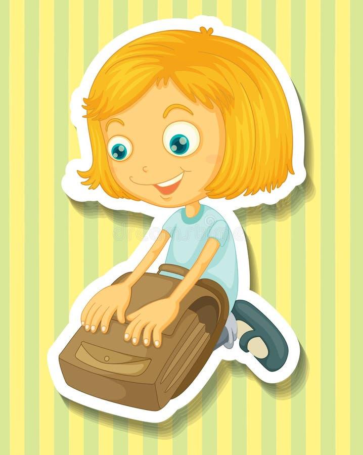 包装她的书包的女孩 库存例证