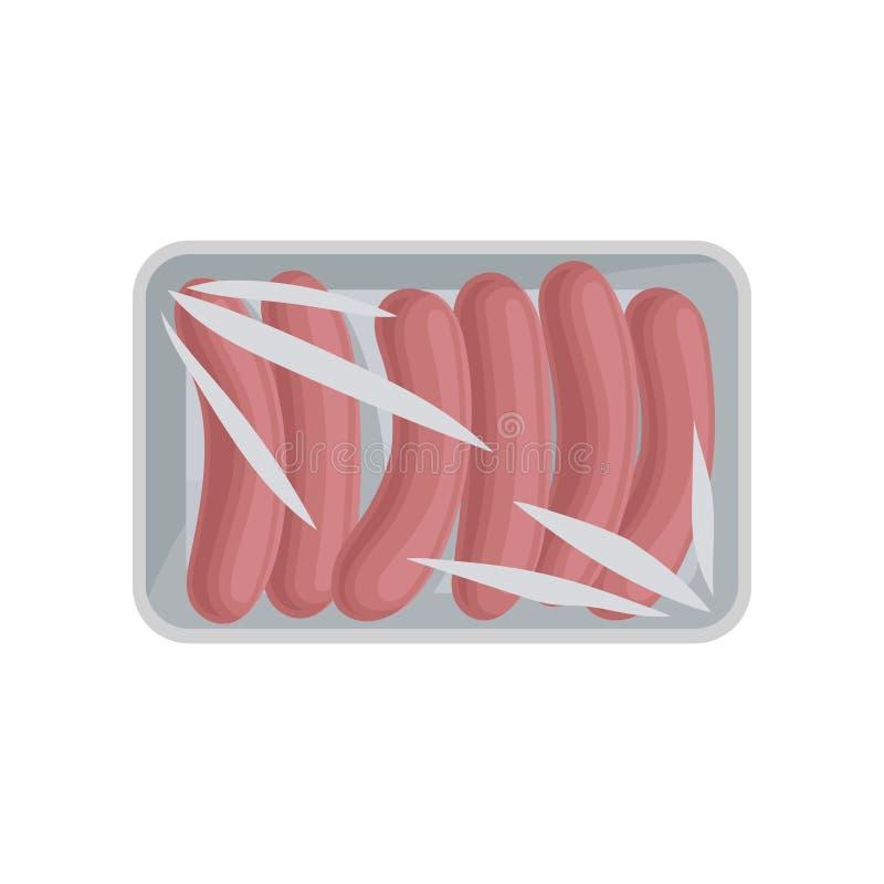 包装新鲜的肉的香肠,有透明透明玻璃纸面传染媒介例证的食物塑料盘子容器在a 皇族释放例证