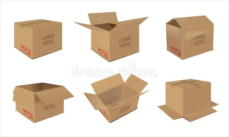 包装有易碎的标志的纸盒交付开放和关闭框 向量例证