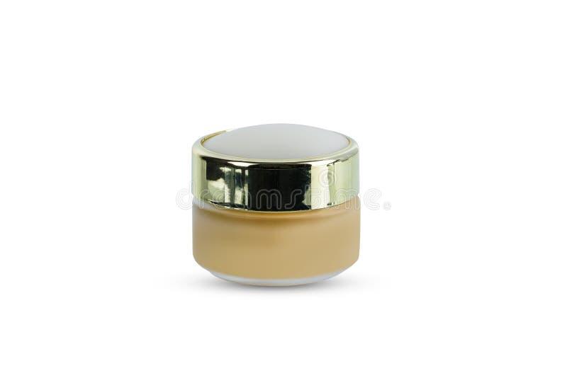 包装清楚的玻璃瓶子与盖帽的秀丽化妆奶油的空白 免版税图库摄影
