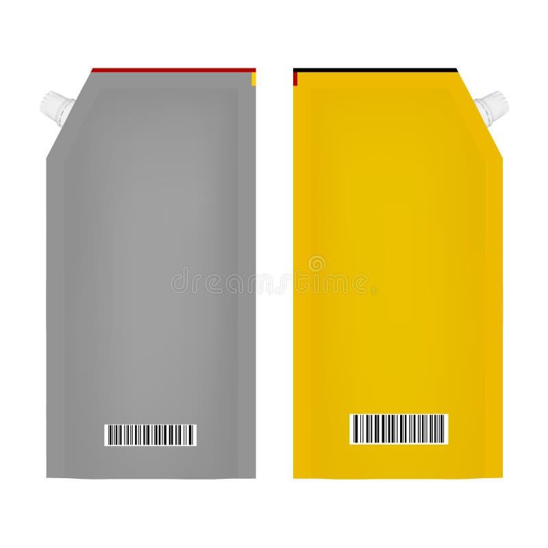包装番茄酱或蛋黄酱的在传染媒介在白色背景 向量例证