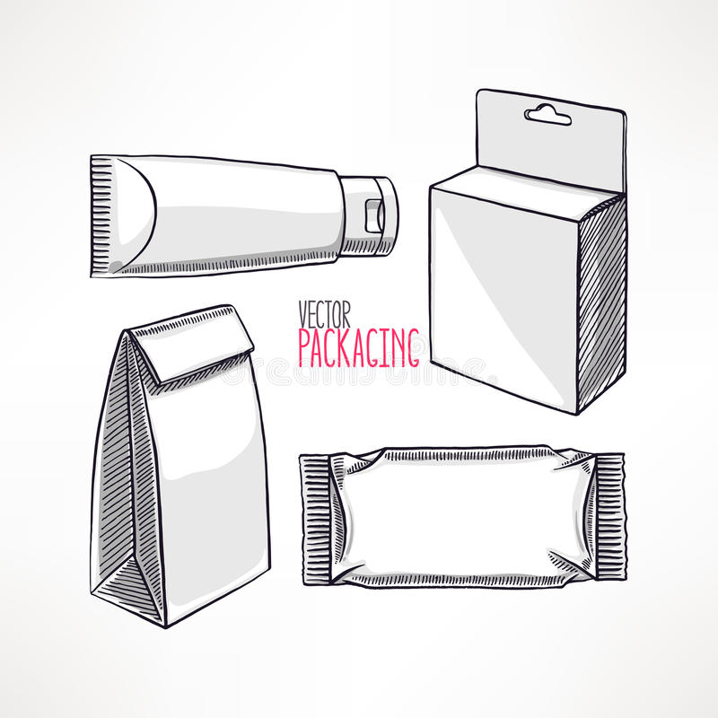 包装的四种不同类型 向量例证
