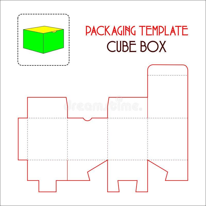 包装的模板立方体箱子 库存例证