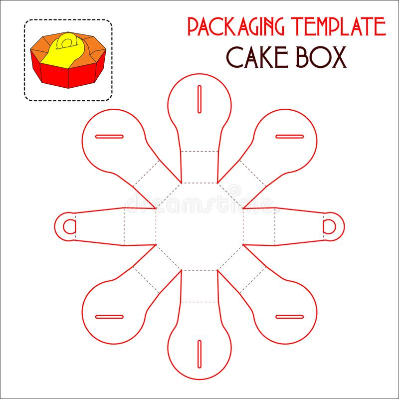 包装的模板蛋糕盒 向量例证