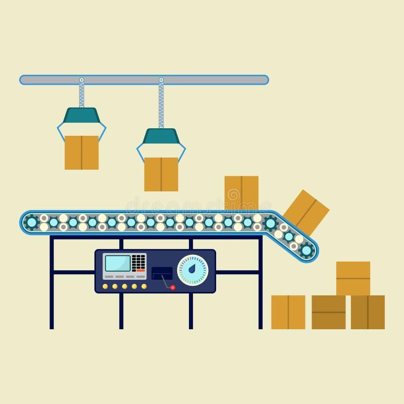 包装的箱子的工业设备,机械线汇编传动机 皇族释放例证