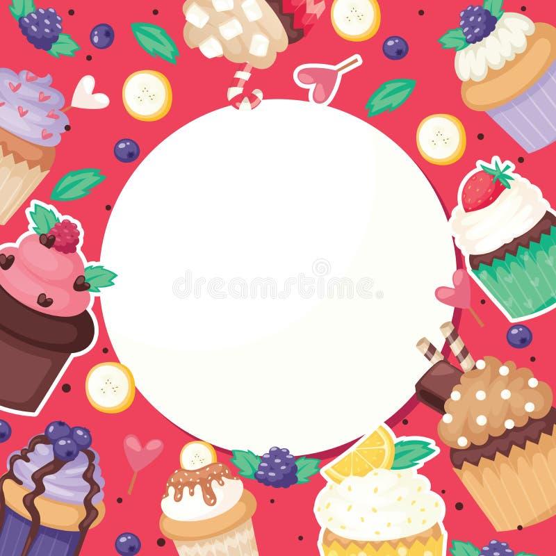 包装花梢蛋糕横幅纸,果子松饼纺织品传染媒介的杯形蛋糕海报样式逗人喜爱的蛋糕食物背景糖果 向量例证