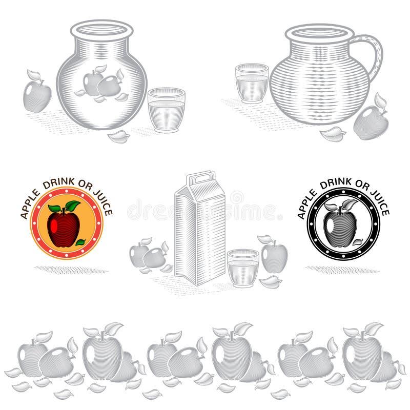 包装苹果汁或饮料的概念元素 与例证的传染媒介设计 库存例证