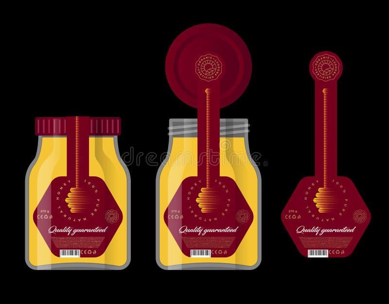 包装蜂蜜的 蜂蜜商标 蜂蜜浸染工象 向量例证