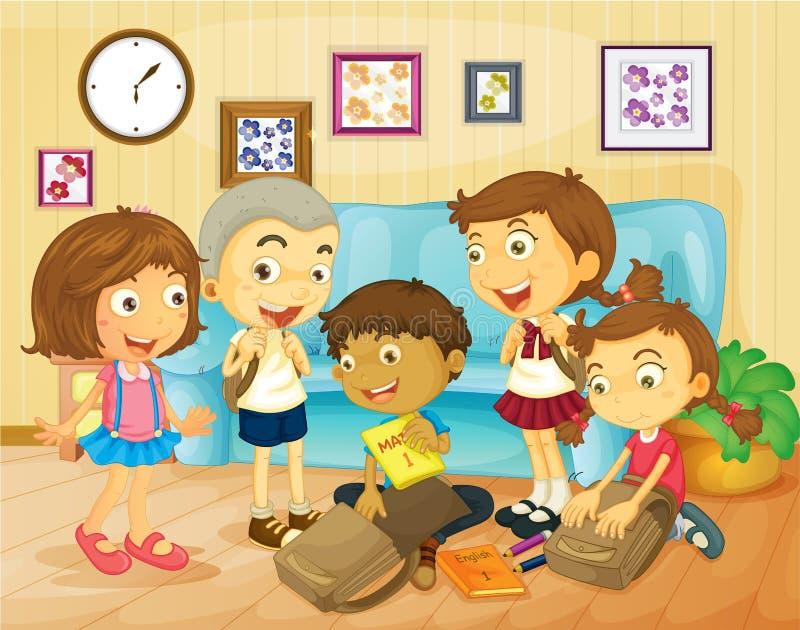 包装袋子的男孩和女孩在屋子里 皇族释放例证
