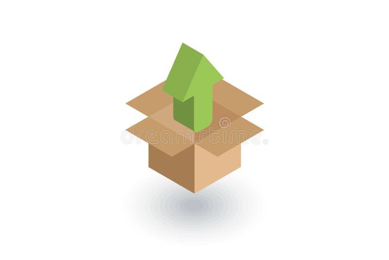 包装,纸盒箱子卸载等量平的象 3d向量 皇族释放例证