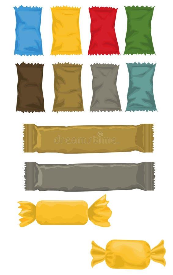 包装 包装糖果,芯片,薄脆饼干,在不同颜色的坚果 皇族释放例证
