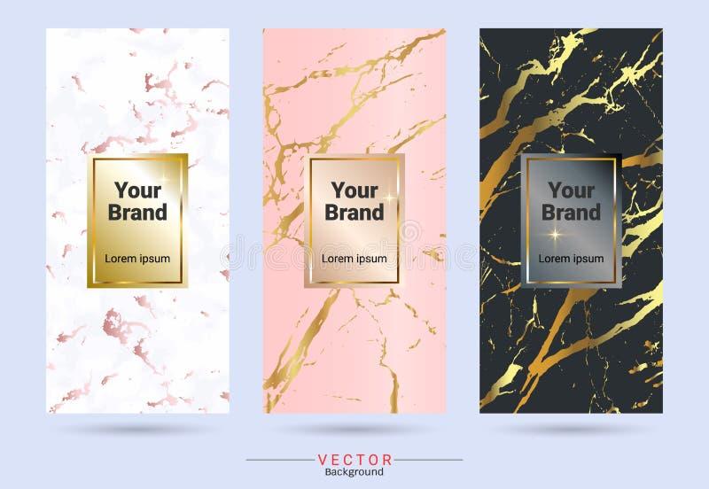 包装&标签品牌设计模板,适用于与大理石纹理的豪华或优质产品, 库存例证