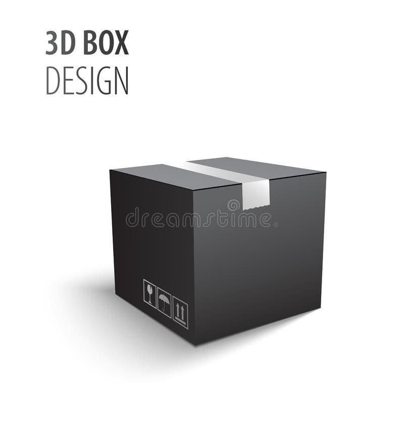 包装3d有易碎的标志的黑闭合的纸盒交付箱子隔绝在白色背景传染媒介例证 库存例证