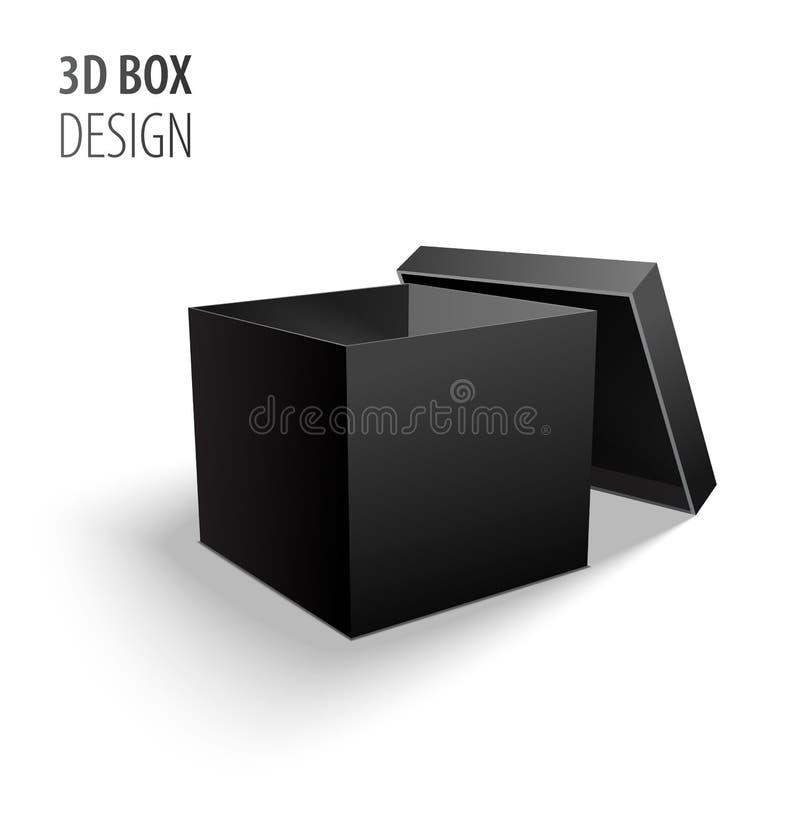 包装3d有盒盖的黑开放纸盒交付黑匣子隔绝在白色背景传染媒介例证 向量例证