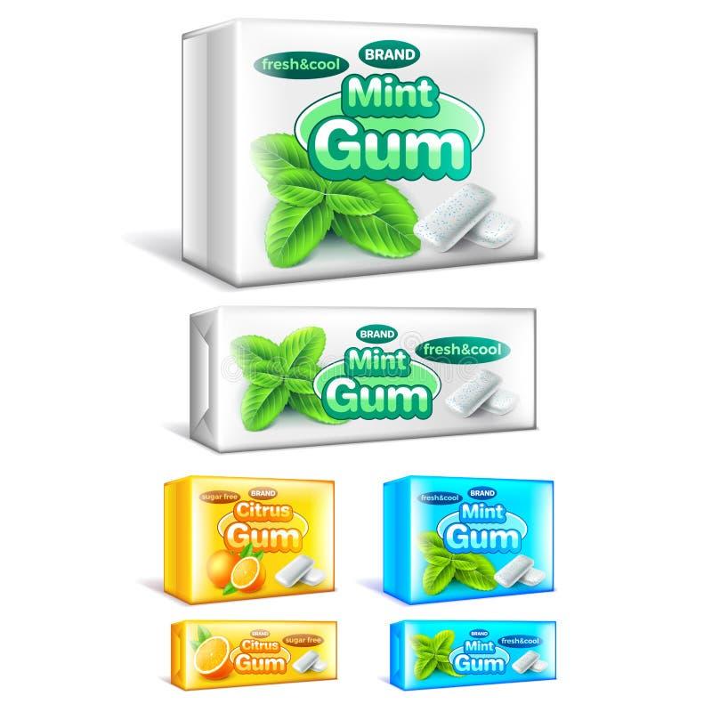 包装3d现实传染媒介集合的口香糖 皇族释放例证