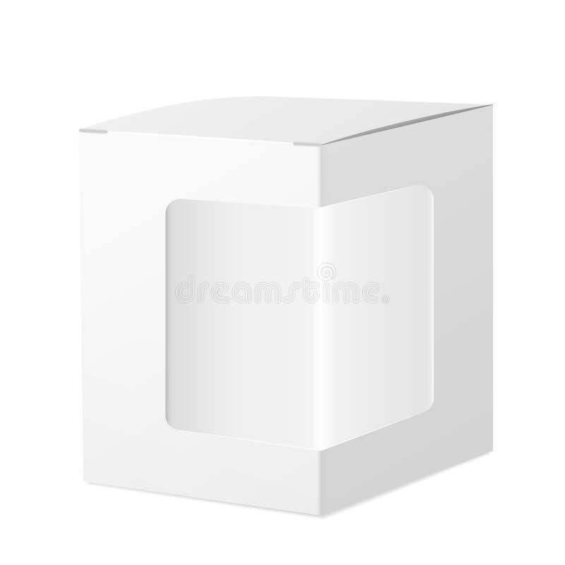 包裹有透明塑料窗口的纸板箱 向量例证