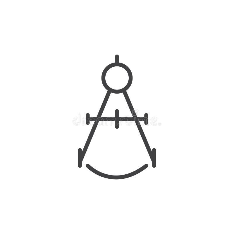 包围绘图工具线象,概述传染媒介标志,在白色隔绝的线性样式图表 向量例证