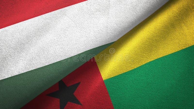 匈牙利和几内亚比绍两旗子纺织品布料,织品纹理 向量例证