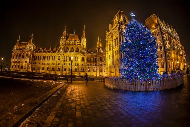 匈牙利国会大厦夜视图,圣诞节打过工的 布达佩斯,匈牙利 免版税库存图片
