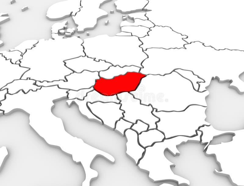 匈牙利国家摘要3D说明了地图欧洲大陆 皇族释放例证