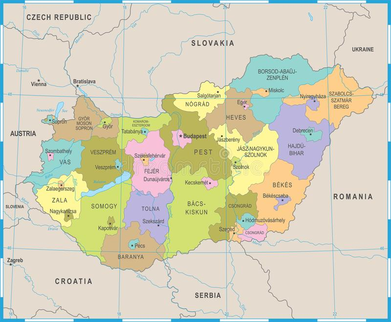 匈牙利地图-详细的传染媒介例证. 政治, 发芽的.图片