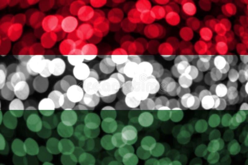匈牙利抽象模糊的bokeh旗子 圣诞节、新年和国庆节概念旗子 库存例证