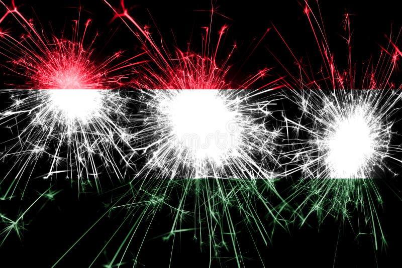 匈牙利烟花闪耀的旗子 新年、圣诞节和国庆节概念 库存图片
