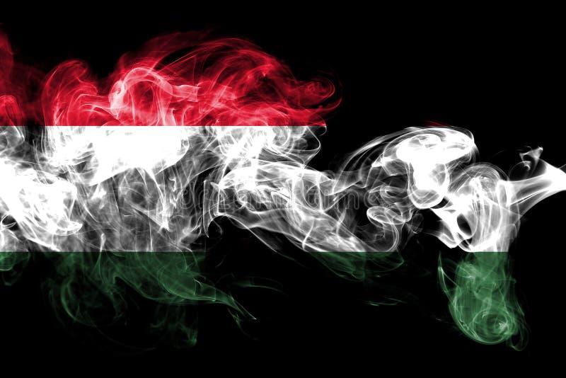 匈牙利的国旗由被隔绝的彩色烟幕做了在黑背景 抽象柔滑的波浪背景 皇族释放例证