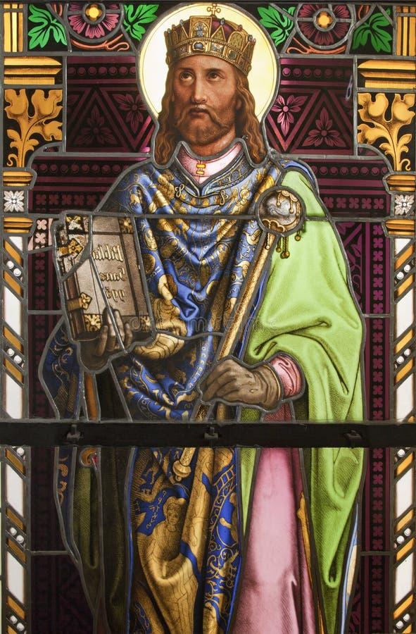 匈牙利的圣斯蒂芬国王。 窗玻璃详细资料在圣洁寺庙Marianka的 库存图片