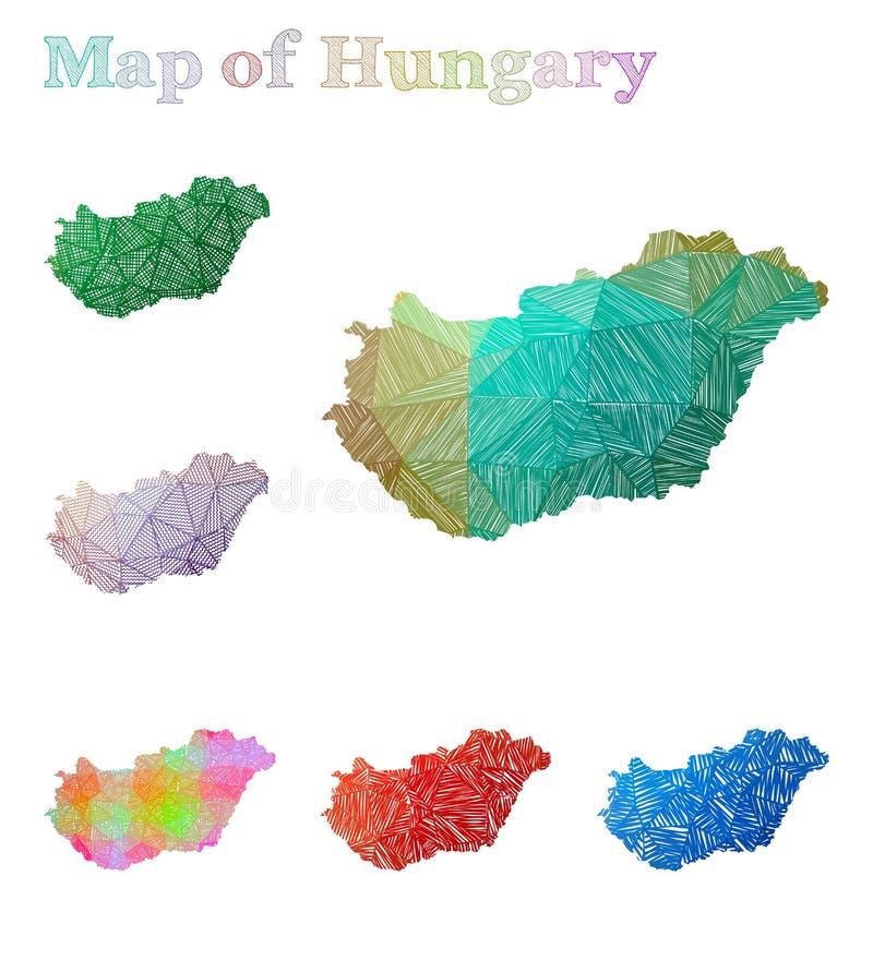 匈牙利的手拉的地图 库存例证
