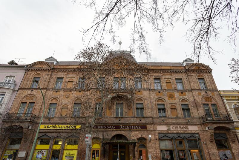 匈牙利索尔诺克的旧砖房 免版税库存照片
