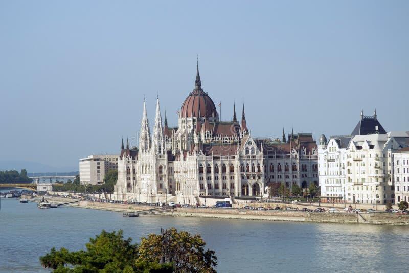 匈牙利议会,布达佩斯-全景 库存照片