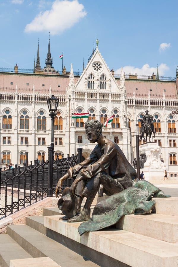 匈牙利诗人阿提拉Jozsef,布达佩斯,匈牙利雕塑  库存图片