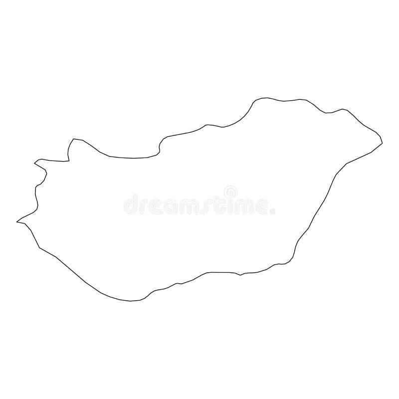 匈牙利-国家区域坚实黑概述边界地图  简单的平的传染媒介例证 库存例证