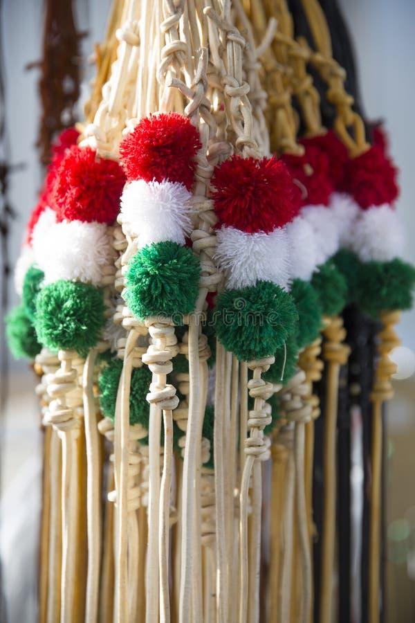 匈牙利sheperds的传统三色皮革鞭子和ho 免版税库存照片