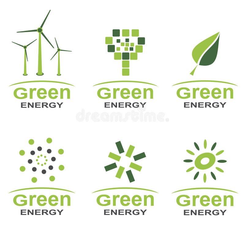 绿化能量商标集合 皇族释放例证