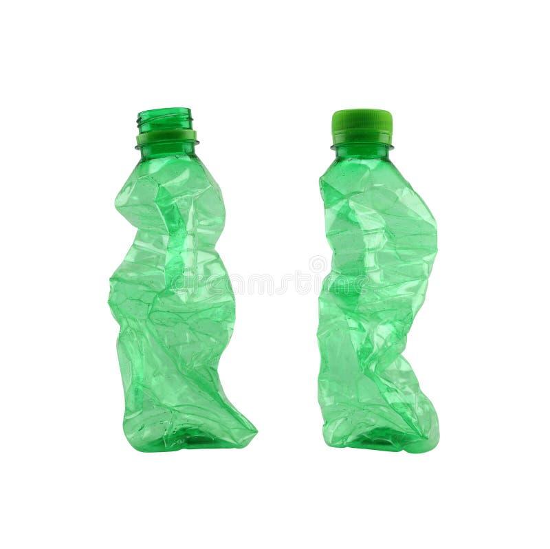 绿化在白色背景隔绝的使用的塑料瓶 免版税库存图片