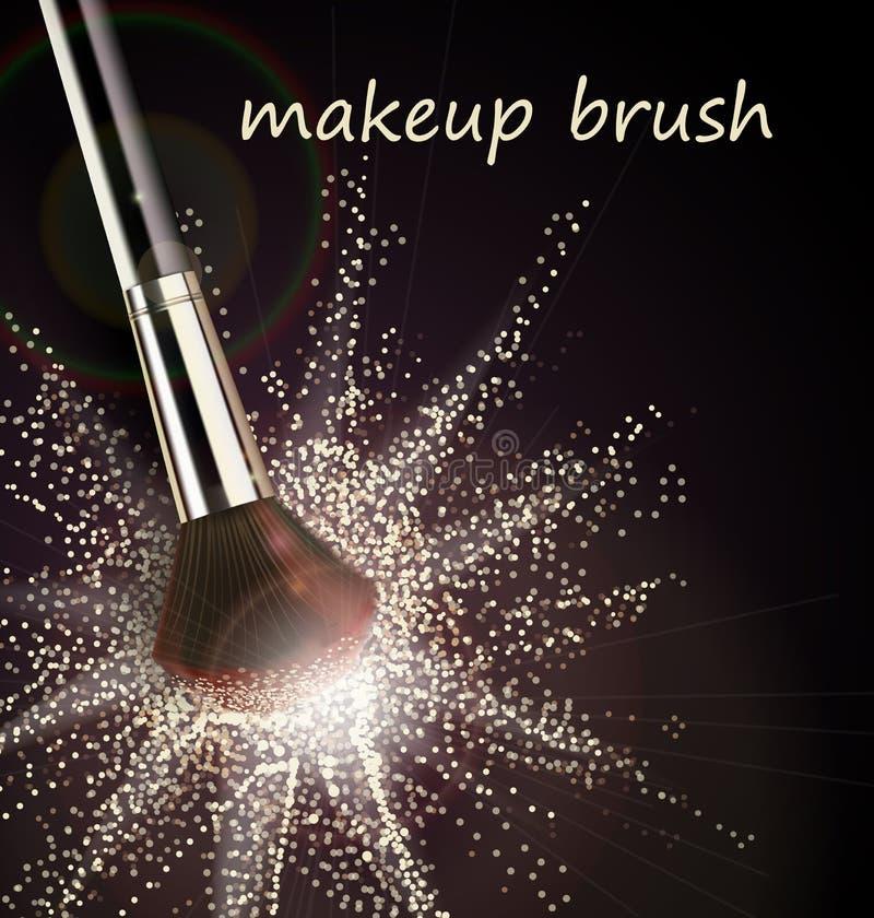 化妆与轻的粉末爆炸的刷子在黑背景传染媒介 向量例证