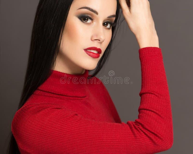 化妆优雅的黑发女人 免版税库存图片