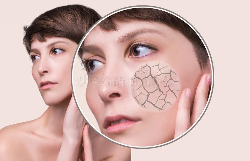 化妆作用、治疗和皮肤护理的概念 免版税图库摄影