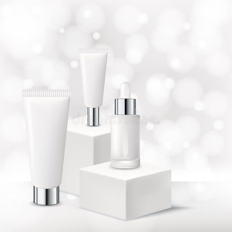 化妆品大模型设计模板 导航奶油,面具,在白色背景的血清的现实3d例证 向量例证
